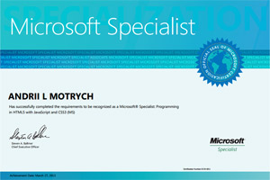 Andrii Motrych Microsoft 70-480 Certificate
