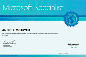 Andrii Motrych Microsoft 70-483 Certificate
